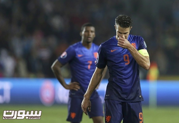 Robin van Persie of the Netherlands reacts after the Euro 2016 qualifying soccer match against the Czech Republic in Prague