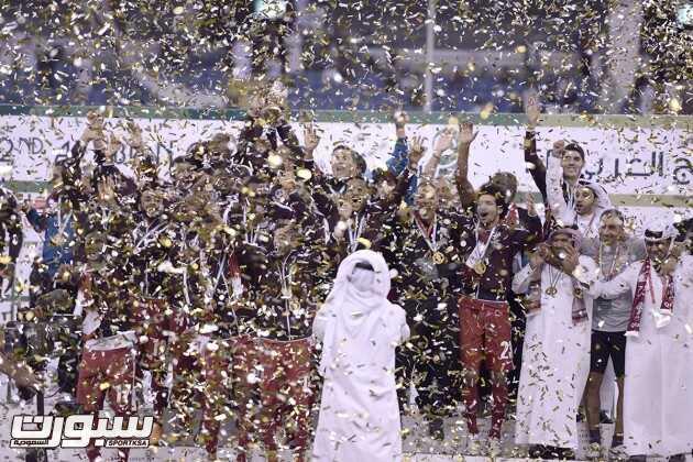 تغطية مصورة لتتويج المنتخب القطري و فرحة اللاعبين