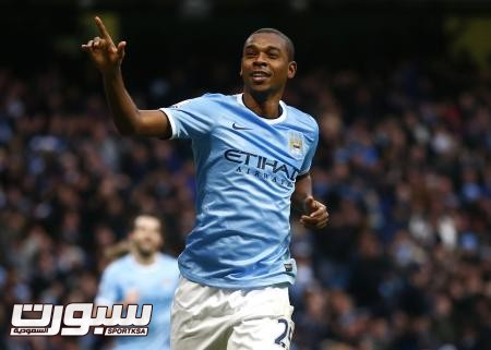 Manchester City's Fernandinho celebrates after scoring a goal against Arsenal during their English Premier League soccer match at the Etihad stadium in Manchester